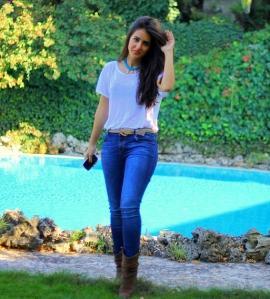 jeans blue boots shirt beautiful girl