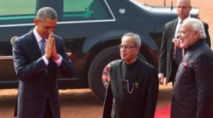 Barack Obama, Pranab Mukherjee, Narendra Modi
