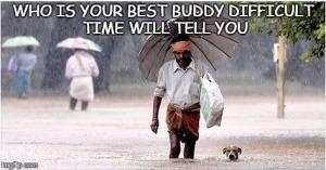 Man with dog - best friend of man - best pet - man in rain